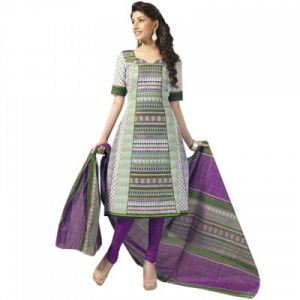 "Sinina Women""s Cotton Printed Straight Salwar Kameez Un Stitched Dress Material ? Sgp422"