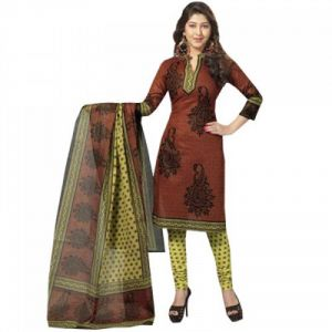 Sinina Brown Color Un Stitched Cotton Printed Dress Material (code - Sgp423