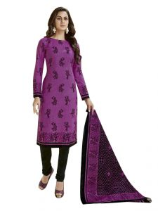 Sinina Women's Clothing - Sinina Purple Women Printed Cotton Dress Material-SGP823