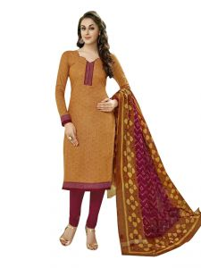 Sinina Dress Materials (Singles) - Sinina  Brown Cotton Printed Unstitched Dress Material-SGP824