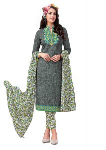 Sinina Grey Color Un Stitched Pure Cotton Printed Dress Material (code - Sj3503)
