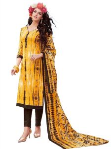 Sinina Yellow Color Un Stitched Pure Crepe Dress Material (code - Sj3507)