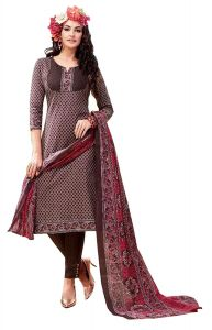 Sinina Chocolate Brown Color Un Stitched Pure Cotton Printed Dress Material (code - Sj3508)