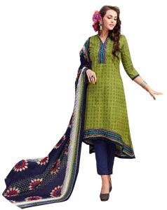Sinina Green Color Un Stitched Pure Cotton Printed Dress Material (code - Sj3516)