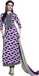 Rcpc,Sukkhi,Tng,Vipul,Arpera,Sinina,Surat Tex Women's Clothing - Sinina purple color Unstitched cotton embroidered dress material (Code - skblossom724)