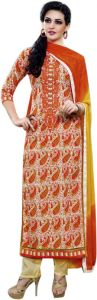 Vipul,Port,Tng,Sangini,Jpearls,Sinina,Kiara,Estoss Women's Clothing - Sinina orange color Unstitched cotton embroidered dress material (Code - skblossom727