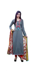 Sinina Designer Embroidered And Digital Print Pure Cotton Unstitched Designer Salwar Kameez Suit - Skessence751