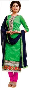 Sinina Green Color Unstitched Cotton Embroidered Dress Material (code - Skmannat641)