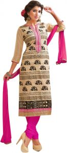 Sinina Cream Color Unstitched Chanderi Cotton Embroidered Dress Material (code - Skmannat648)