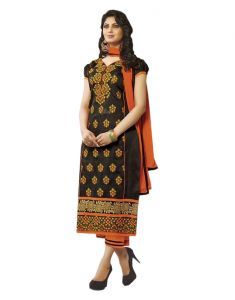 Sinina Black Color Unstitched Cotton Embroidered Dress Material (code - Skmasha691)