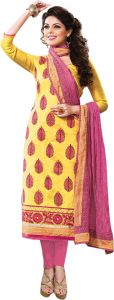 Sinina Yellow Color Unstitched Chanderi Cotton Embroidered Dress Material (code - Sksajda653)