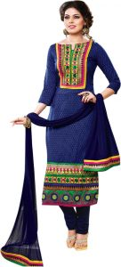Rcpc,Kalazone,Jpearls,Kaamastra,Sinina Women's Clothing - Sinina blue color Unstitched cotton embroidered dress material (Code - sksajda660)