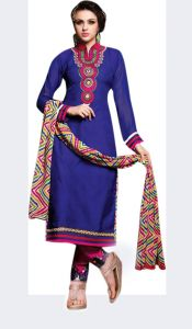 Sinina Blue Color Unstitched Chanderi Cotton Embroidered Dress Material (code - Sksimayaa103)