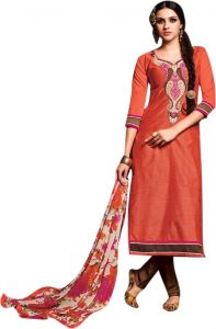 Sinina Light Brown Color Unstitched Chanderi Cotton Embroidered Dress Material (code - Sksimayaa106)