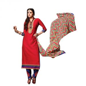 Sinina Red Color Unstitched Chanderi Cotton Embroidered Dress Material (code - Sksimayaa108)