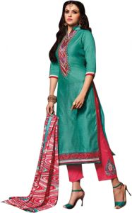 Sinina Blue Color Unstitched Chanderi Cotton Embroidered Dress Material (code - Sksimayaa110)