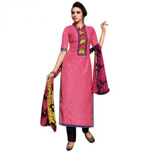 Sinina Crimson Red Color Unstitched Chanderi Cotton Embroidered Dress Material (code - Sksimayaa113)