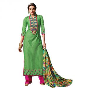 Sinina Green Color Unstitched Chanderi Cotton Embroidered Dress Material (code - Sksimayaa114)