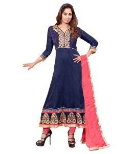 Sinina Women's Clothing - Sinina Blue Georgette Salwar Kameez Suit Semi Stitched AnarkaliDress Material-Status9239