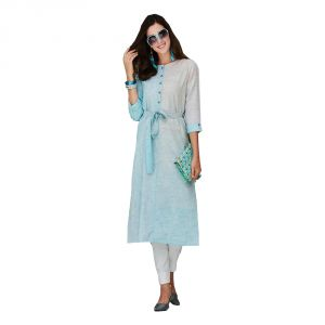 Hoop,Shonaya,Arpera,The Jewelbox,Gili,Avsar,Ag,Port,Sinina Women's Clothing - Cool blue color cotton designer printed kurti -Sunflower04