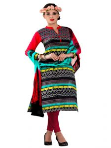 Pick Pocket,Gili,Valentine,Sinina,Sangini Women's Clothing - Sinina multi color Un stitched cotton embroidered dress material (Code - Wave21)