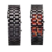 Bracelet Samurai Red LED Digital Metal Black Wrist Watch For Women 168