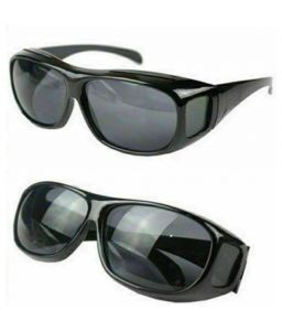 Unisex HD Night Vision Driving Men Women Sunglasses Over Wrap Around Glasses ( Black ) Set Of 2