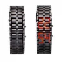 New Bracelet Samurai Red LED Digital Metal Black Wrist Watch