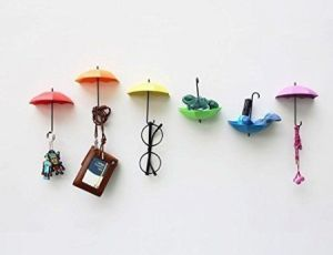 Colorful Decorative Umbrella Drop Style Clothes Key Hat Robe Hall Wall Hook For Bathroom Kitchen Door Shelves Hanger Hooks - 3 PCs