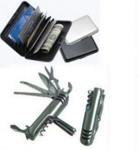 Premium Data Secure Aluminium Waterproof Wallet & Swiss Army Pocket Knife