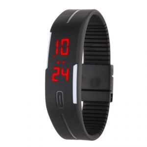 Jelly Slim Men Women Black LED Digital Casual Bracelet Band LED Watch