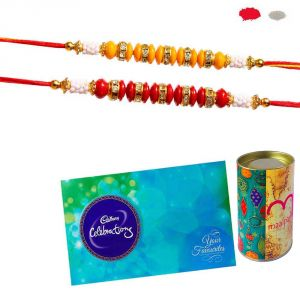 Rakhis Chocolate - 2 Rakhis With Celebration Online - Gift Hamper