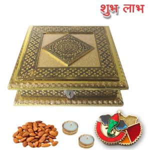 Maalpani Diwali Dry Fruits Hamper Box With Minakari Ganesh Kankavati N Golden Tealight Candle Holder Shubh Labh Stickers
