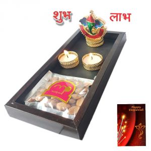 Maalpani Diwali Pooja Tray Ganesh Kankavati N Tealight Candle Holder Candles Shubh Labh Stickers Gift Hamper With Greetings - Diwali Gifts