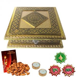 Maalpani Golden Dryfruit Box Shubh Labh Ganesh Floor Rangoli And Tealight Candles With Holders For Diwali Gifting