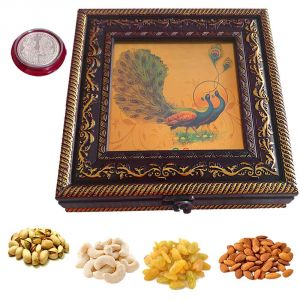 Diwali Gift Hampers - Maalpani Dry Fruit Gift Hamper box for Diwali - Designer Fancy Dry Fruit box with Premium Dry fruits n Silver Coin with Greeting card