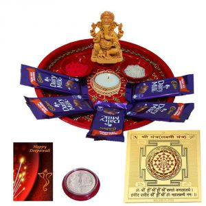 Diwali Pooja Hamper With Shree Yantra Cadbury Dairy Milk Chocolate N Ganesh Idol Diya With Coin