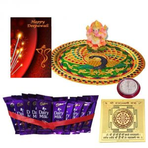 Diwali Thali Hamper Minakari Pooja Thali With Cadbury Dairy Milk Chocolate With Ganesh Idol N Coin