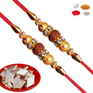 Thread Rakhis (India) - Rakhis Online - Buy Maalpani Fancy Rudraksh Rakhi For Brother / bhaiya