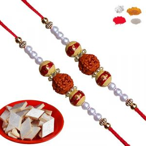 Thread Rakhis (India) - Rakhis Online - Premium Rudraksh Rakhi With Pearl and Cotton Tread