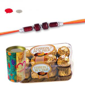 Bead Rakhi With 16 PCs Ferrero Rocher Chocolate - Chocolate Gift Hamper For Brother
