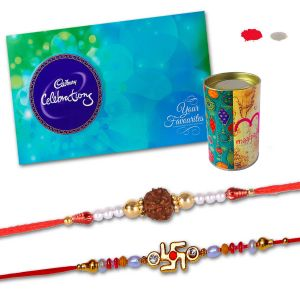 Rakhis & Gifts (India) - Divine Swastik and Rudraksh Rakhi with Cadbury Celebration Chocolate Pack - Rakhi Hamper