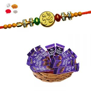 Rakhi Chocolate - Maalpani Om Rakhi With Dairy Milk Pack - Rakhi Gift Hamper
