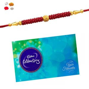 Rakhi And Chocolate - Maalpani Bracelet Rakhi With Cadbury Celebration Chocolate Hamper