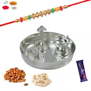 Rakhi Gift Hampers (for Brothers in India) - Send Rakhi Gift Hampers - Silver Puja Thali With Rakhi And Dry Fruit Gift Pack For Brother / bhaiya
