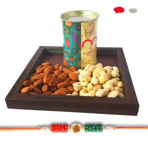 Rakhi Dry Fruit Hamper - Om Bracelet Rakhis With Dry Fruit Tray Gift For Brother - Rakhi Festival 2017