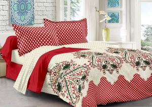 Welhouse Cotton Traditional Red Double Bedsheet With 2 Contrast Pillow Covers(tc-129)