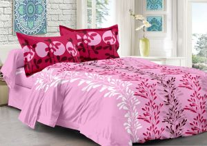 Welhouse Pink & Natural Design Super Soft Cotton Double Bedsheet With 2 Contrast Pillow Cover-best Tc-175