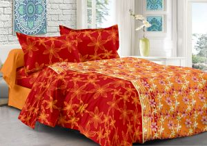 Welhouse Orange & Floral Design 100% Organic Double Bedsheet With 2 Contrast Pillow Cover-best Tc-175