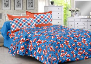 Welhouse Blue & Floral Design 100% Cotton Double Bedsheet With 2 Contrast Pillow Cover-best Tc-175